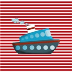Cruise Boat Red White Stripes