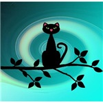 Cat on Branch on Teal