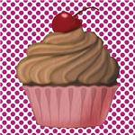 Pink Cupcake on Pink Dots