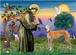 SAINT FRANCIS with a<br>Light Red Greyhound