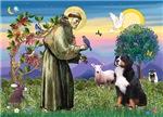 Saint Francis / Bernese Mountain Dog