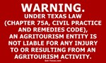 Texas Agritourism Liabilty Relief Sign