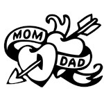 Mom, Dad Heart and Arrow Tattoo, Funny Valentines