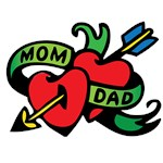 Mom, Dad Heart and Arrow Tattoo, F