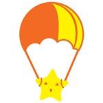 cute Kawaii star on a parachute