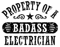 Property of a Badass Electrician t-shirts