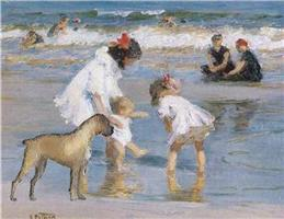 Children and Boxer at Seashore
