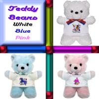 Teddy Bears With Art in White Blue or Pink