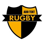 Rugby Shield Black Gold Personalize