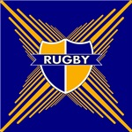 Rugby Crest Blue Gold Stripe