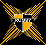 Rugby Crest Black Gold Stripe