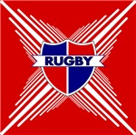 Rugby Crest Red Blue Stripe