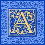 Blue And Gold Fancy Letters ToteBags