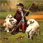 Boy and Three Retriever Pups - Hunting