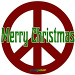 Merry Christmas Red Peace Sign