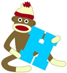 Sock Monkey Monogram Boy H