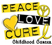PEACE LOVE CURE Childhood Cancer Shirts