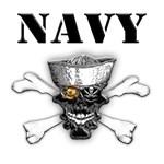 Navy Skull and Cross Bones
