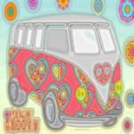 Groovy Hippie Van Glass Print