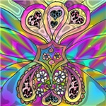 Psychedelic Paisley Hearts