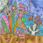 Seahorse Sea Turtle Art