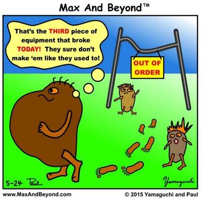 Cartoon: Big Couch Potato and Out of Order Sign