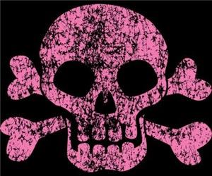 Worn Pink Skull And Crossbones