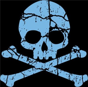 Worn Blue Skull And Crossbones