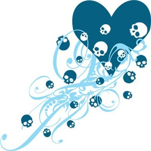 Blue Heart With Skulls And Swirls