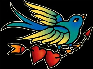 Tattoo Bird With Hearts On Arrow