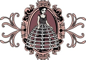 Gothic Girl In Bone Hoopskirt
