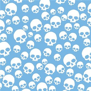 Light Blue Random Skull Pattern