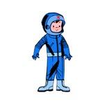 Retro Astronaut Boy Cartoon