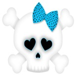 Skull with Blue Bow