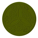 Green Embossed Dragon Trinity Knot Coin