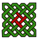 Green Celtic Knot with Red Center