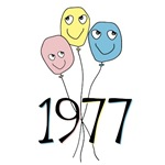 1977 colored birthday balloons 30th birthday humor