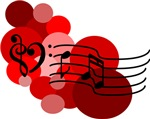Red Music Notes and Polka Dots