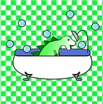 Dino in Tub (Green Checks)