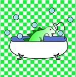 Dino in Tub (Green Checks)