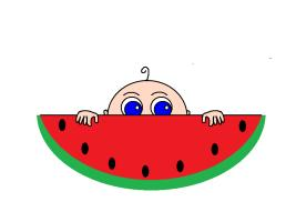 Watermelon Baby Peeking