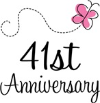 41st Anniversary Pink Butterfly Keepsake Gifts