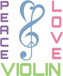 Peace Love Violin Music T-shirts