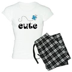 Cute Blue Butterfly Matching Pajamas