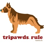 Introducing new Tripawds rear leg amputee dog designs now available on t-shirts, bags, mugs, gift cards and more!