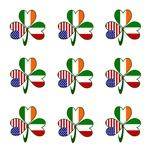 Nine Italian Shamrocks on White