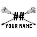 Personalized Crossed Lacrosse Sticks White