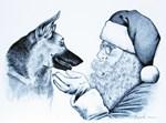 German Shepherd and Santa Claus