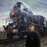 Vintage Train and Conductor Painting