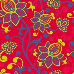 Red Blue Gold Vintage Floral Pattern